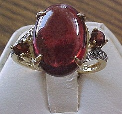 Jabberjewelry.com Garnet Diamond White Gold Ring