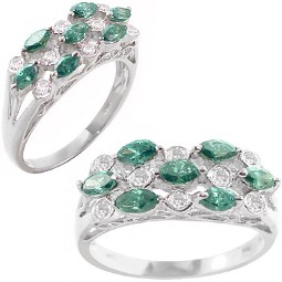 White Gold Green & White Diamond Ring