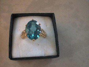Large London Blue Topaz Gold Ring