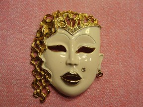 Jabberjewelry.com Vintage Large Fancy Hair Lady Face Pin