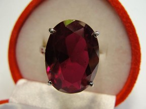 Jabberjewelry.com Large White Gold Oval Ruby Ring