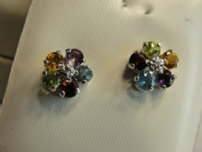 New Silver Gemstone & Diamond Earrings