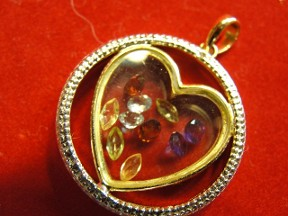 Jabberjewelry.com Floating Gemstone Silver Circle Heart Pendant