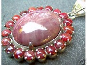 Jabberjewelry Vintage Large Ruby Agate Silver Pendant