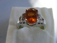 Fire Opal & Diamond Silver Ring