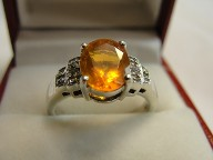 Fire Opal Diamond Silver Ring
